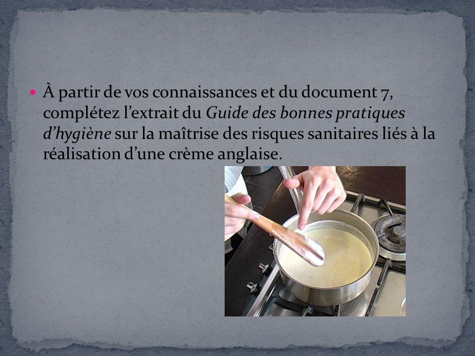 À partir de vos connaissances et du document 7, complétez lextrait du Guide des bonnes pratiques dhygiène sur la maîtrise des risques sanitaires liés