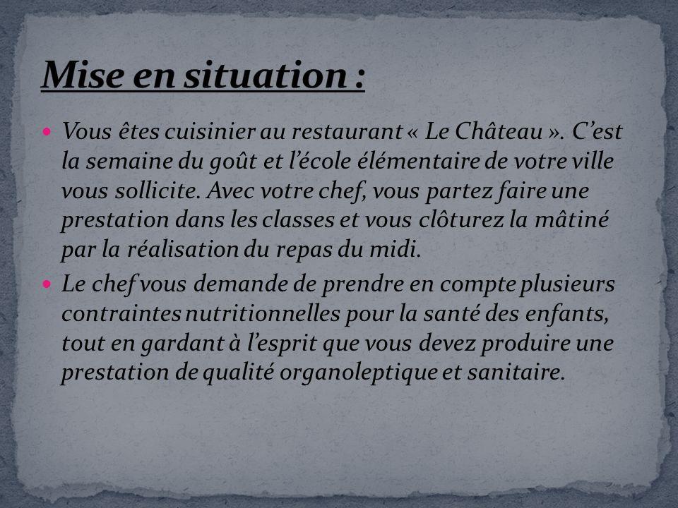 Vous êtes cuisinier au restaurant « Le Château ». Cest la semaine du goût et lécole élémentaire de votre ville vous sollicite. Avec votre chef, vous p
