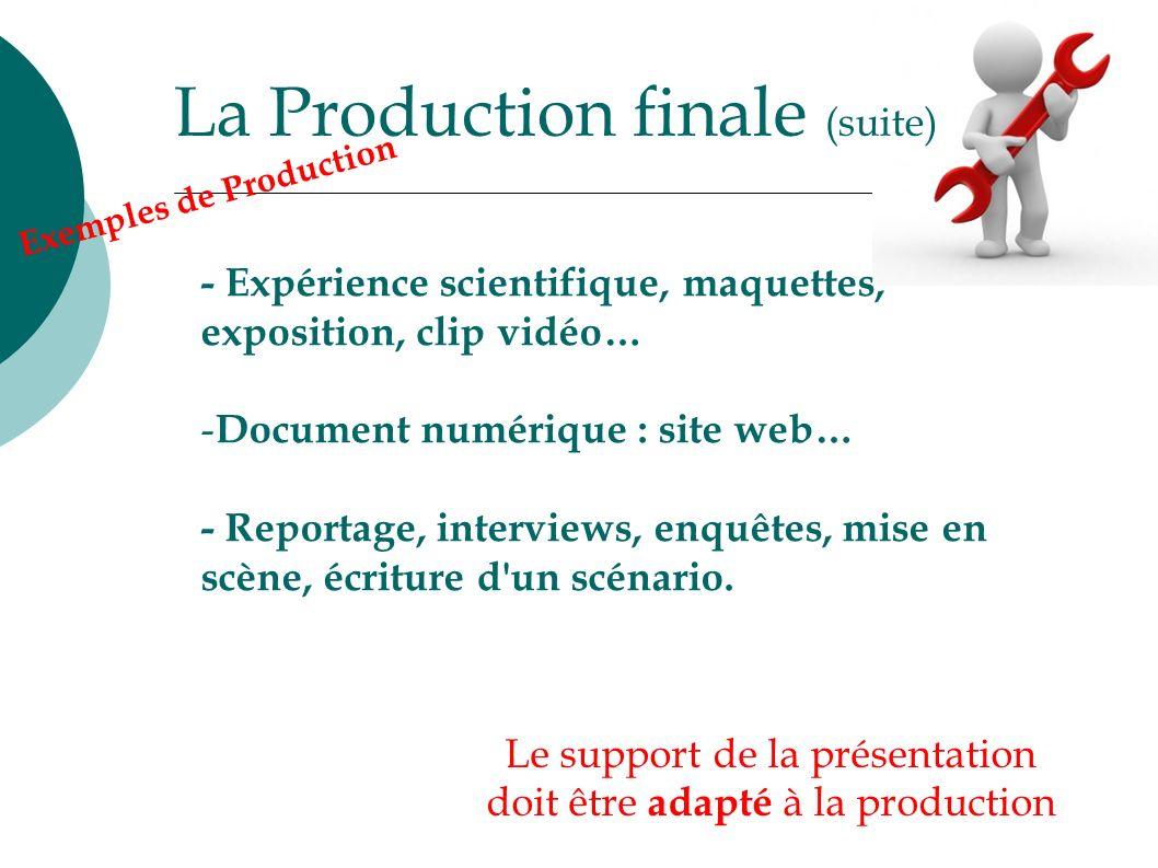 La Production finale (suite) Le support de la présentation doit être adapté à la production - Expérience scientifique, maquettes, exposition, clip vid