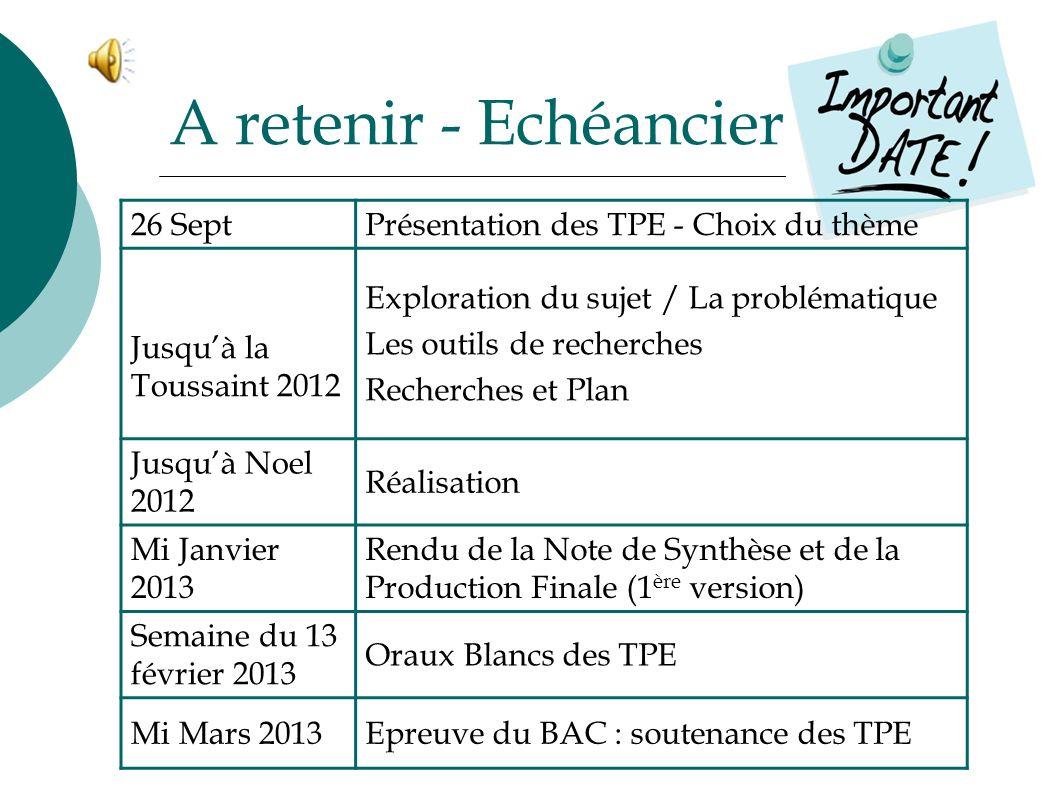 A retenir - Echéancier 26 SeptPrésentation des TPE - Choix du thème Jusquà la Toussaint 2012 Exploration du sujet / La problématique Les outils de rec