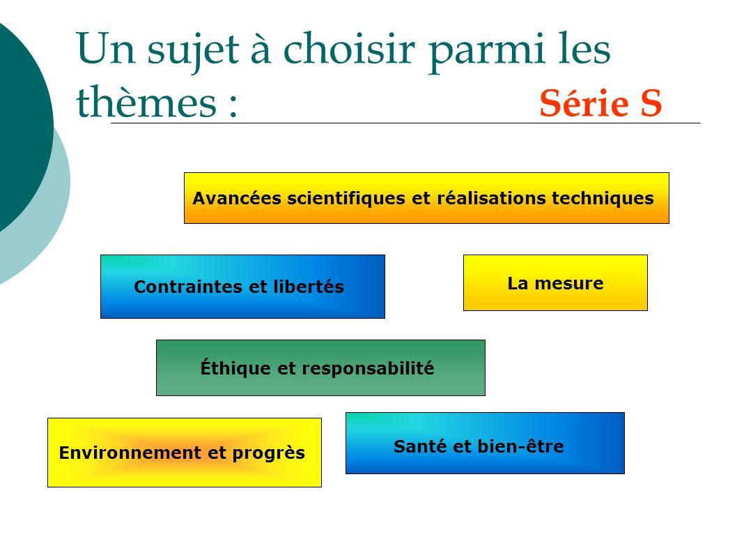 Un sujet à choisir parmi les thèmes : La mesure Contraintes et libertés Éthique et responsabilité Santé et bien-être Environnement et progrès Avancées