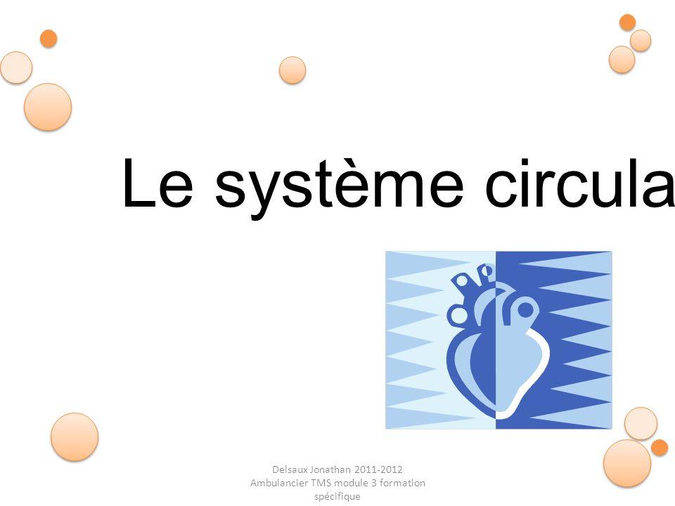 Delsaux Jonathan 2011-2012 Ambulancier TMS module 3 formation spécifique Fin… Le système circulatoire