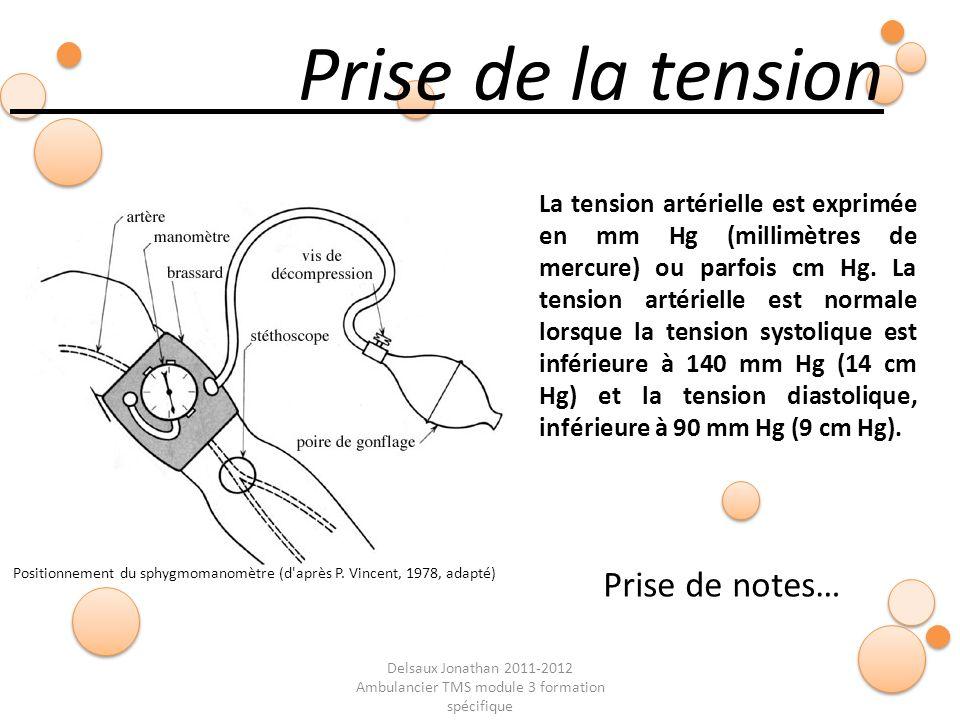 Delsaux Jonathan 2011-2012 Ambulancier TMS module 3 formation spécifique Fin… Prise de la tension Prise de notes… Positionnement du sphygmomanomètre (