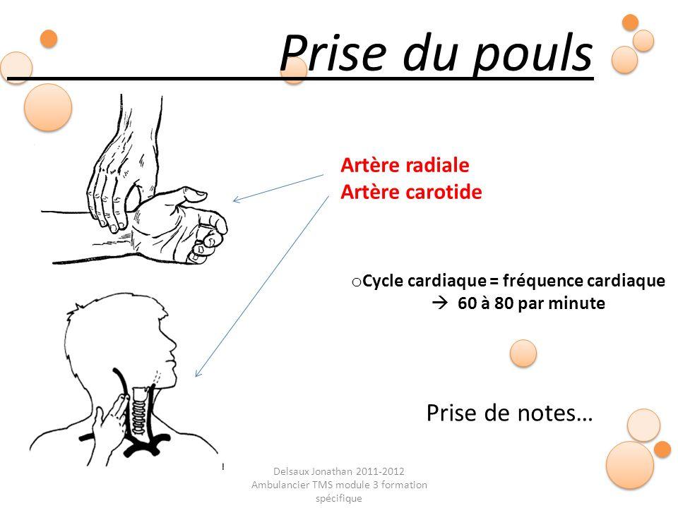 Delsaux Jonathan 2011-2012 Ambulancier TMS module 3 formation spécifique Fin… Prise du pouls Prise de notes… o Cycle cardiaque = fréquence cardiaque 6