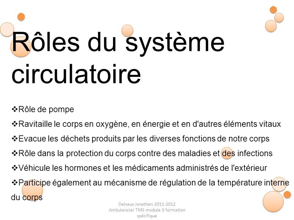 Delsaux Jonathan 2011-2012 Ambulancier TMS module 3 formation spécifique Fin… Rôles du système circulatoire Rôle de pompe Ravitaille le corps en oxygè