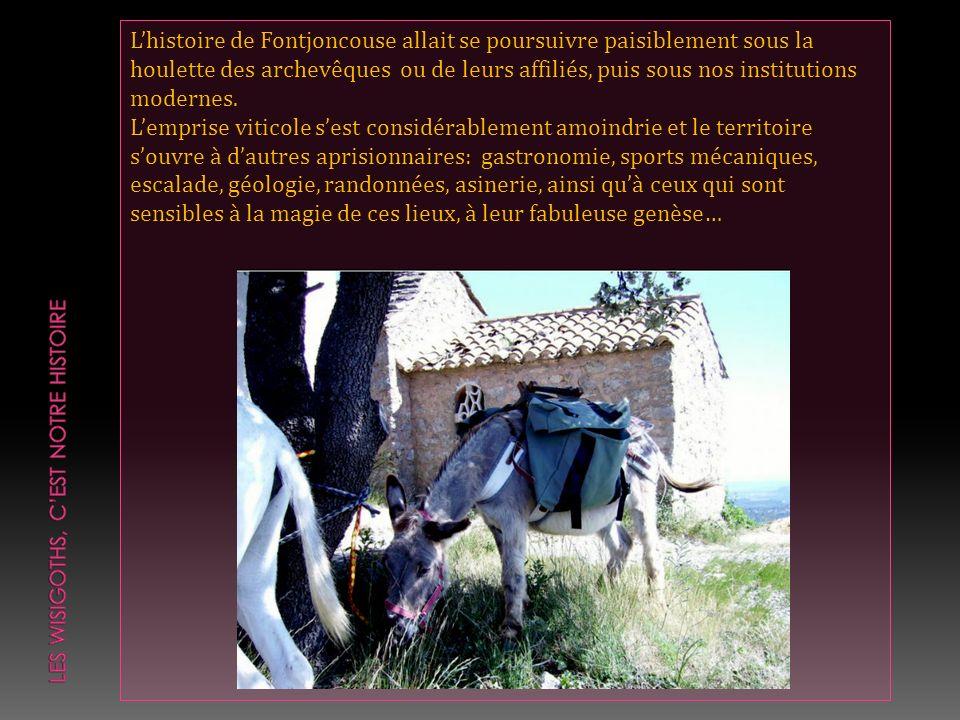 Lhistoire de Fontjoncouse allait se poursuivre paisiblement sous la houlette des archevêques ou de leurs affiliés, puis sous nos institutions modernes