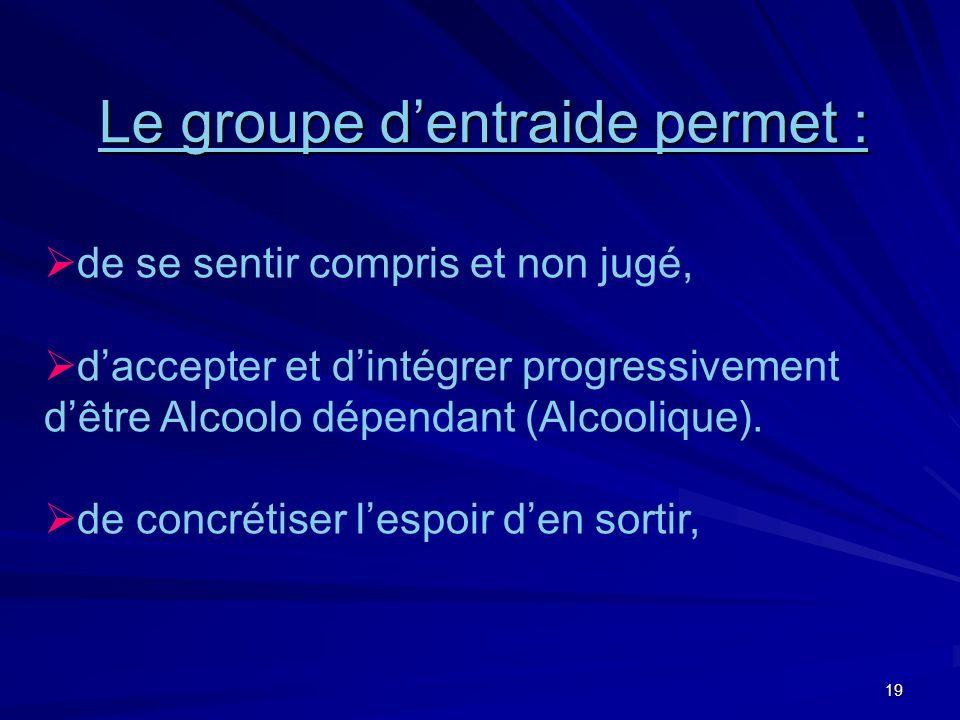 19 Le groupe dentraide permet : de se sentir compris et non jugé, daccepter et dintégrer progressivement dêtre Alcoolo dépendant (Alcoolique). de conc