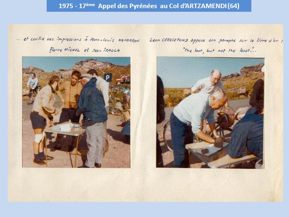 1976 - 18 ème Appel des Pyrénées au Col dASPEIGT – 700 m (64) Club organisateur : Cercle Cyclotouristique Palois le 31 octobre