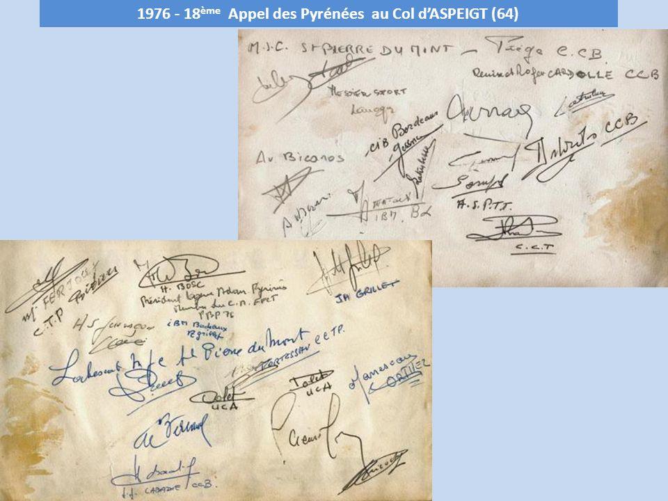 1977 - 19 ème Appel des Pyrénées au Plà dADET - 1680 m (65) Club organisateur : C.C.