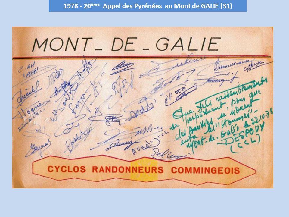 1978 - 20 ème Appel des Pyrénées au Mont de GALIE (31)