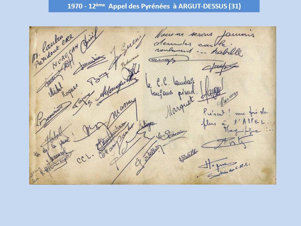 1971 - 13 ème Appel des Pyrénées au Plateau de LHERS – 900 m (64) Club organisateur : Messier Sports Oloron le 26 septembre
