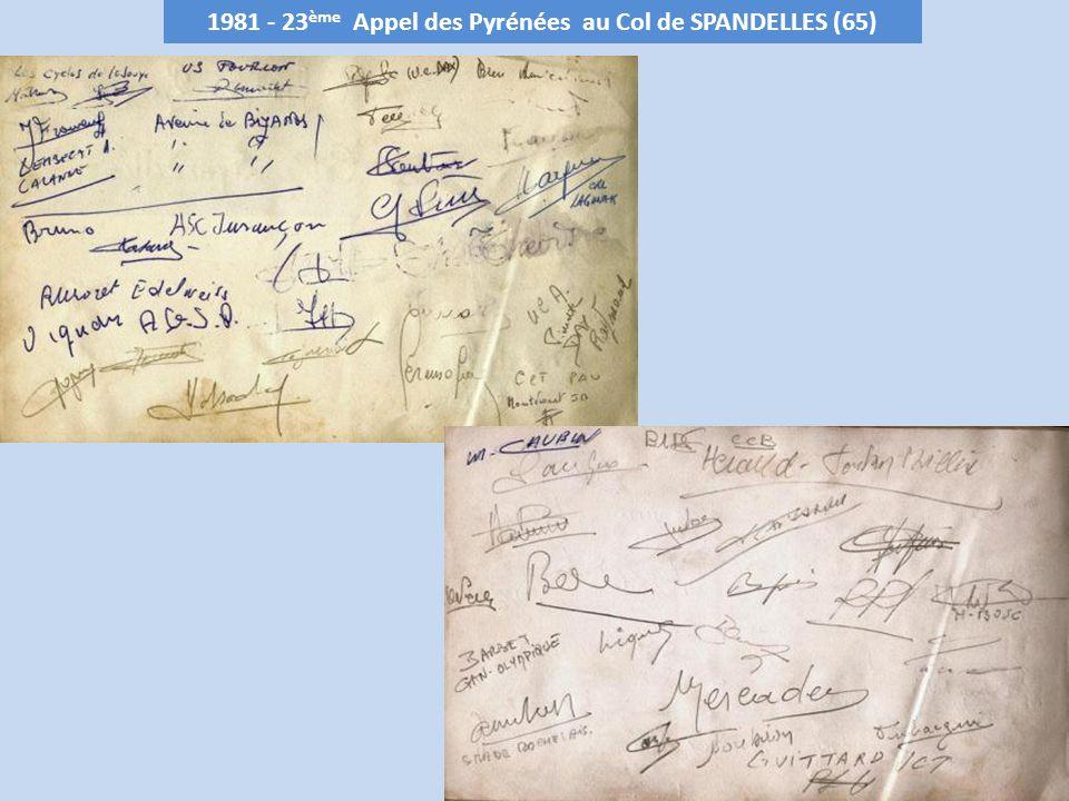 1981 - 23 ème Appel des Pyrénées au Col de SPANDELLES (65)