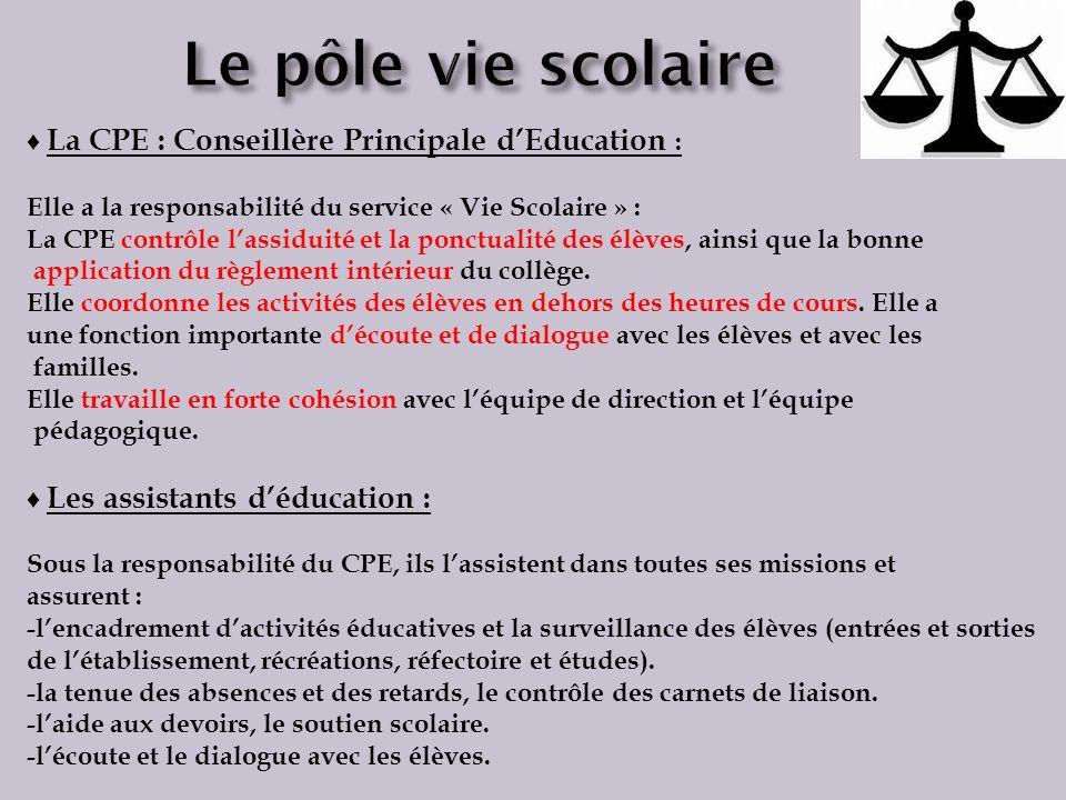 La CPE : Conseillère Principale dEducation : Elle a la responsabilité du service « Vie Scolaire » : La CPE contrôle lassiduité et la ponctualité des é
