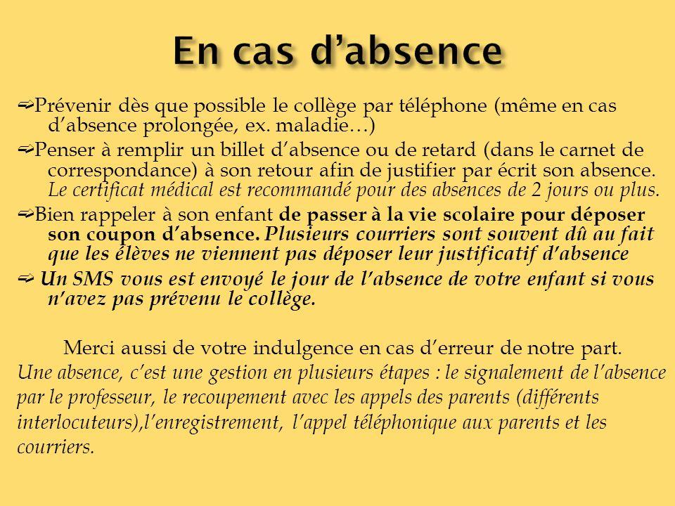 Prévenir dès que possible le collège par téléphone (même en cas dabsence prolongée, ex. maladie…) Penser à remplir un billet dabsence ou de retard (da