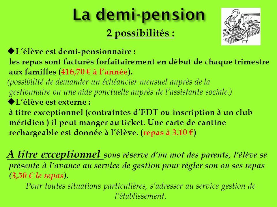 2 possibilités : Lélève est demi-pensionnaire : les repas sont facturés forfaitairement en début de chaque trimestre aux familles (416,70 à lannée). (