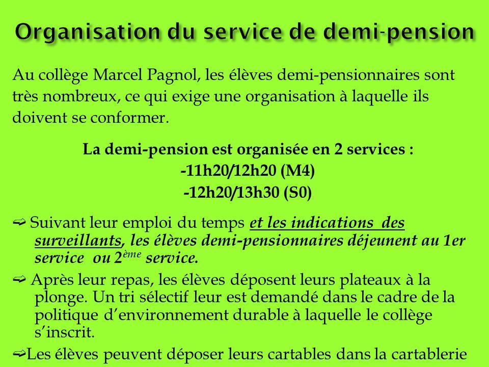 Au collège Marcel Pagnol, les élèves demi-pensionnaires sont très nombreux, ce qui exige une organisation à laquelle ils doivent se conformer. La demi