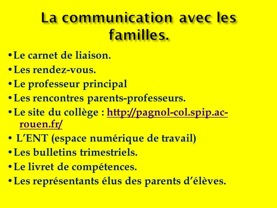 Le carnet de liaison. Les rendez-vous. Le professeur principal Les rencontres parents-professeurs. Le site du collège : http://pagnol-col.spip.ac- rou