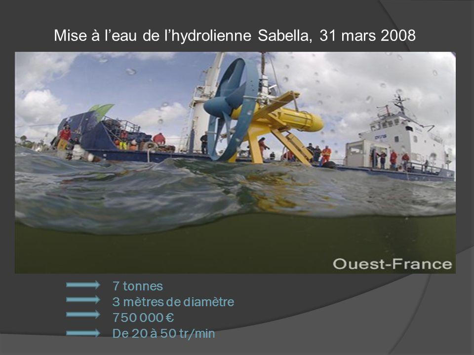 7 tonnes 3 mètres de diamètre 750 000 De 20 à 50 tr/min Mise à leau de lhydrolienne Sabella, 31 mars 2008