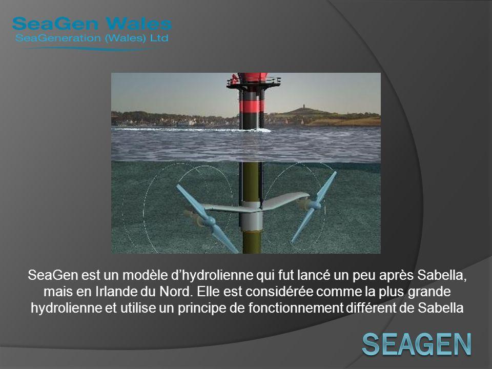 SeaGen est un modèle dhydrolienne qui fut lancé un peu après Sabella, mais en Irlande du Nord. Elle est considérée comme la plus grande hydrolienne et
