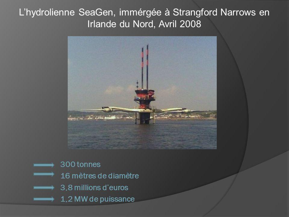Lhydrolienne SeaGen, immérgée à Strangford Narrows en Irlande du Nord, Avril 2008 300 tonnes 16 mètres de diamètre 3,8 millions deuros 1,2 MW de puiss