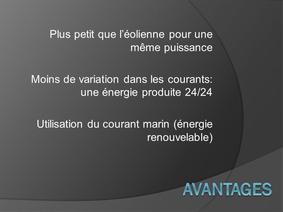 Plus petit que léolienne pour une même puissance Moins de variation dans les courants: une énergie produite 24/24 Utilisation du courant marin (énergi
