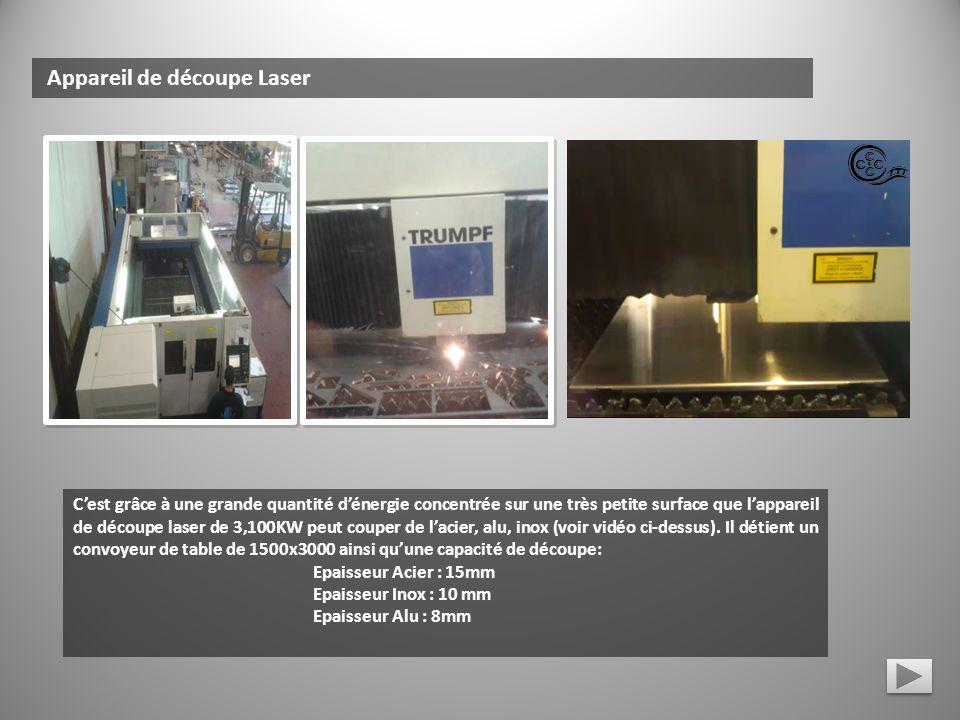 Appareil de découpe Laser Cest grâce à une grande quantité dénergie concentrée sur une très petite surface que lappareil de découpe laser de 3,100KW p