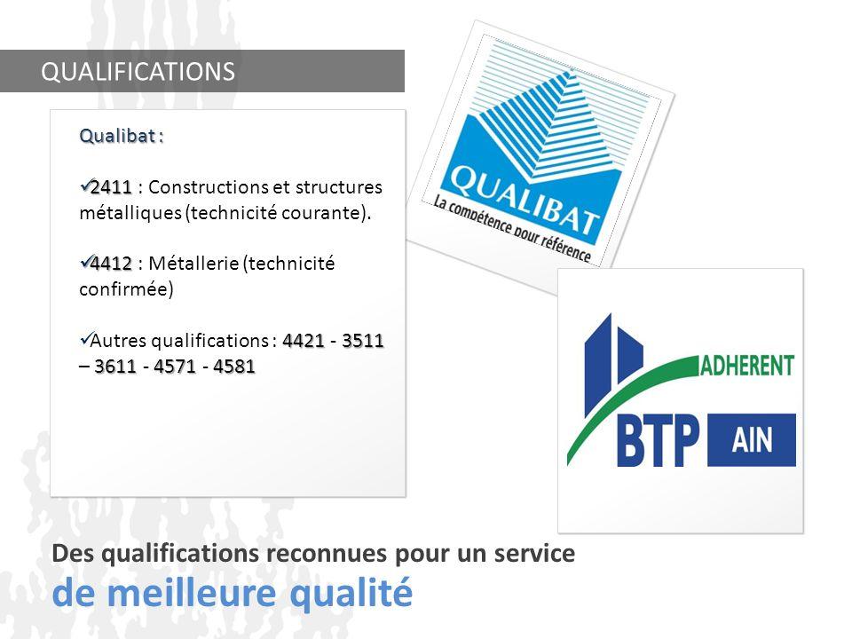 Des qualifications reconnues pour un service de meilleure qualité QUALIFICATIONS Qualibat : 2411 2411 : Constructions et structures métalliques (techn