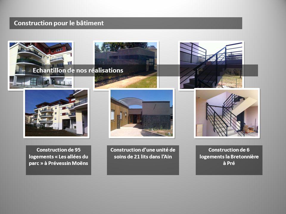 Construction pour lindustrie Echantillon de nos réalisations Construction dune passerelle dentretien Construction dun bâtiment industriel (MTM maître dœuvre) Réalisation dun bac de refroidissement