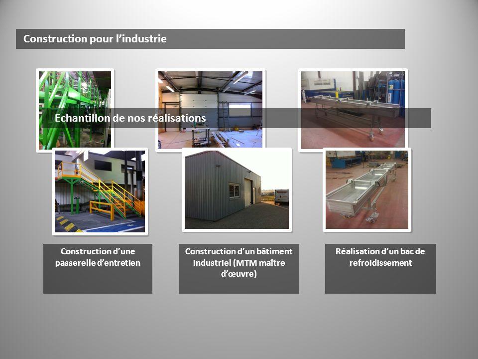 Construction pour lindustrie Echantillon de nos réalisations Construction dune passerelle dentretien Construction dun bâtiment industriel (MTM maître