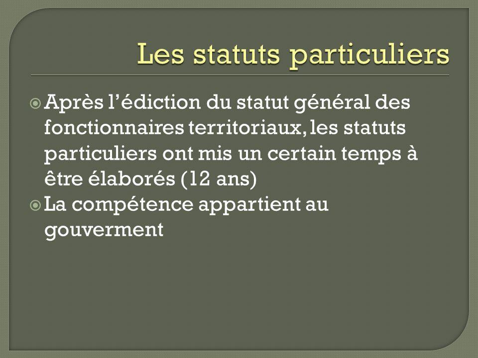 Après lédiction du statut général des fonctionnaires territoriaux, les statuts particuliers ont mis un certain temps à être élaborés (12 ans) La compé