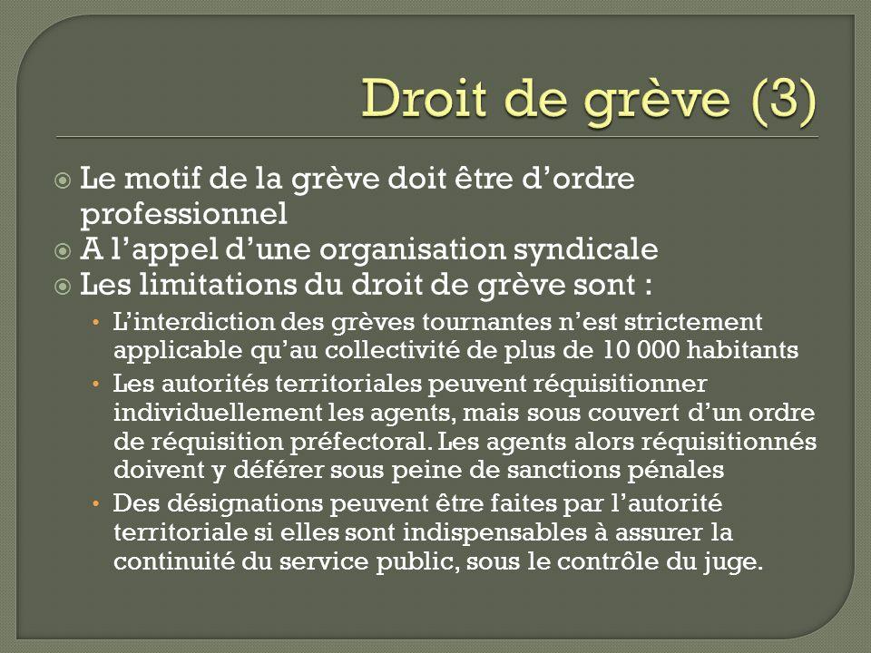 Le motif de la grève doit être dordre professionnel A lappel dune organisation syndicale Les limitations du droit de grève sont : Linterdiction des gr