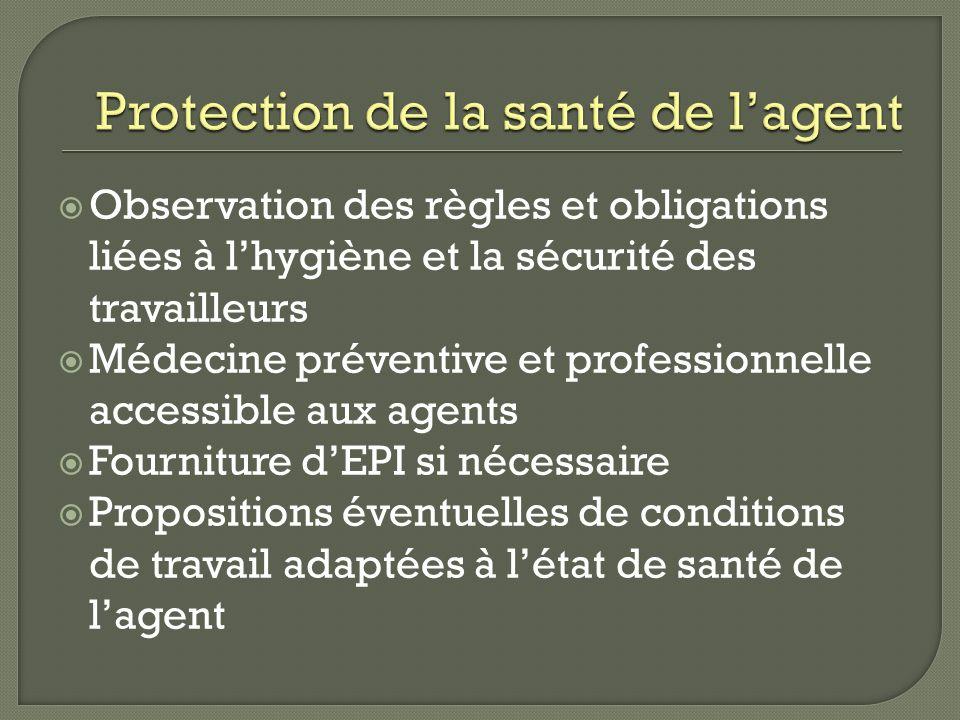 Observation des règles et obligations liées à lhygiène et la sécurité des travailleurs Médecine préventive et professionnelle accessible aux agents Fo