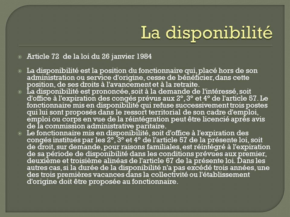Article 72 de la loi du 26 janvier 1984 La disponibilité est la position du fonctionnaire qui, placé hors de son administration ou service d'origine,