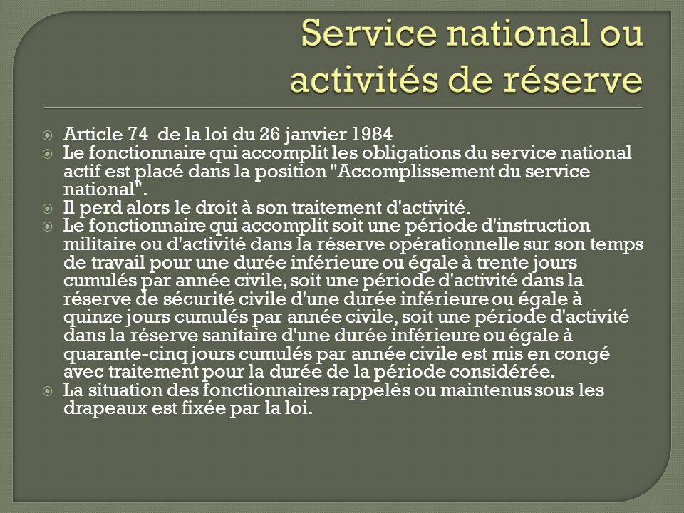Article 74 de la loi du 26 janvier 1984 Le fonctionnaire qui accomplit les obligations du service national actif est placé dans la position
