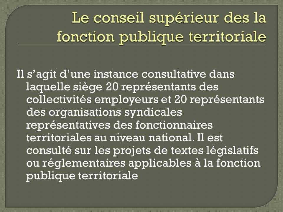 Il sagit dune instance consultative dans laquelle siège 20 représentants des collectivités employeurs et 20 représentants des organisations syndicales