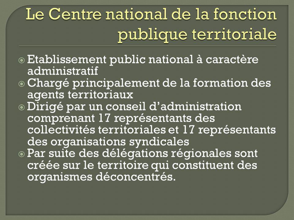 Etablissement public national à caractère administratif Chargé principalement de la formation des agents territoriaux Dirigé par un conseil dadministr