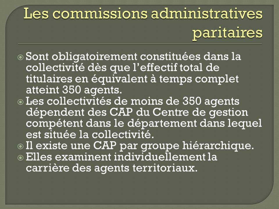 Sont obligatoirement constituées dans la collectivité dès que leffectif total de titulaires en équivalent à temps complet atteint 350 agents. Les coll