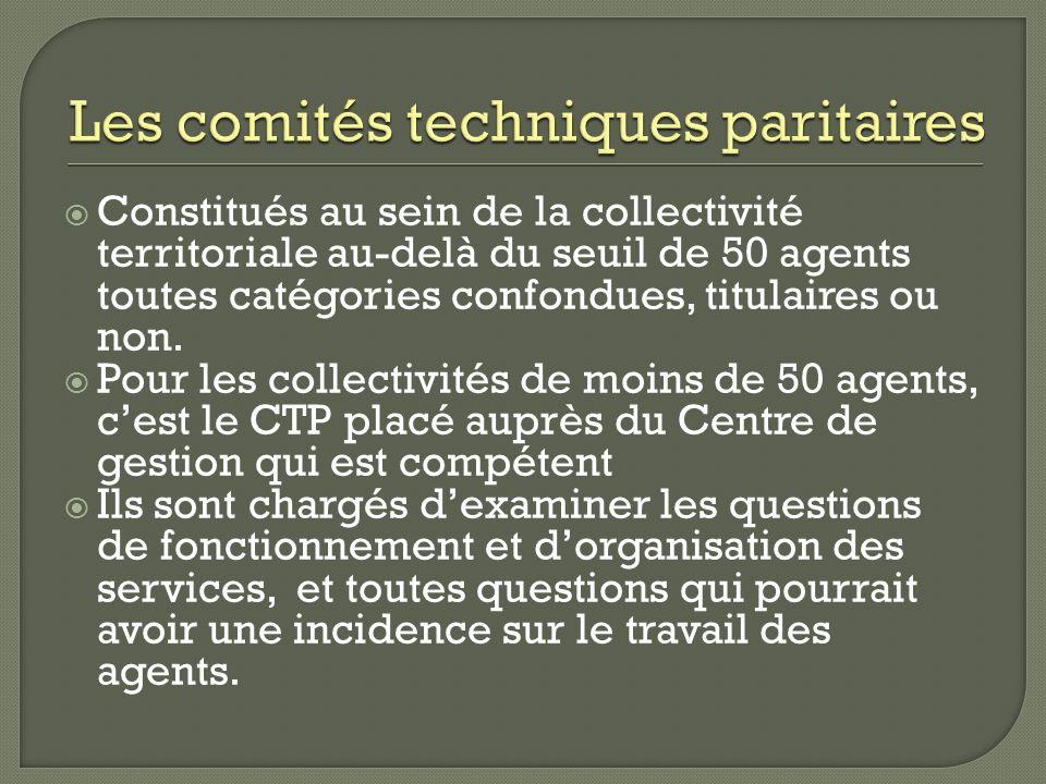 Constitués au sein de la collectivité territoriale au-delà du seuil de 50 agents toutes catégories confondues, titulaires ou non. Pour les collectivit