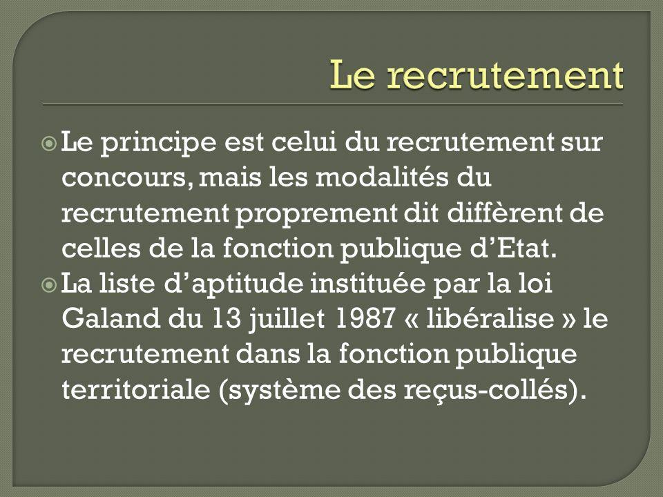 Le principe est celui du recrutement sur concours, mais les modalités du recrutement proprement dit diffèrent de celles de la fonction publique dEtat.