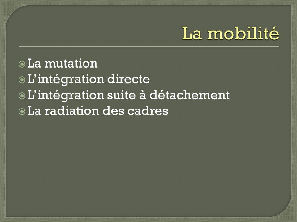 La mutation Lintégration directe Lintégration suite à détachement La radiation des cadres