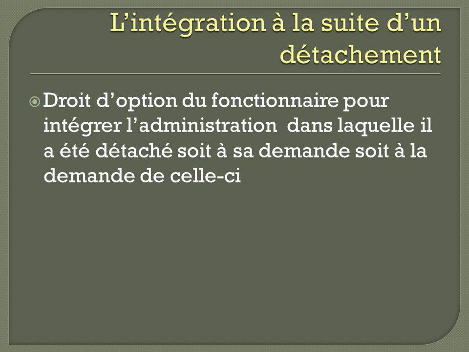 Droit doption du fonctionnaire pour intégrer ladministration dans laquelle il a été détaché soit à sa demande soit à la demande de celle-ci