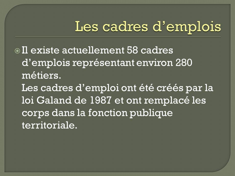 Il existe actuellement 58 cadres demplois représentant environ 280 métiers. Les cadres demploi ont été créés par la loi Galand de 1987 et ont remplacé
