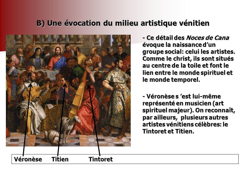 B) Une évocation du milieu artistique vénitien - Ce détail des Noces de Cana évoque la naissance dun groupe social: celui les artistes. Comme le chris