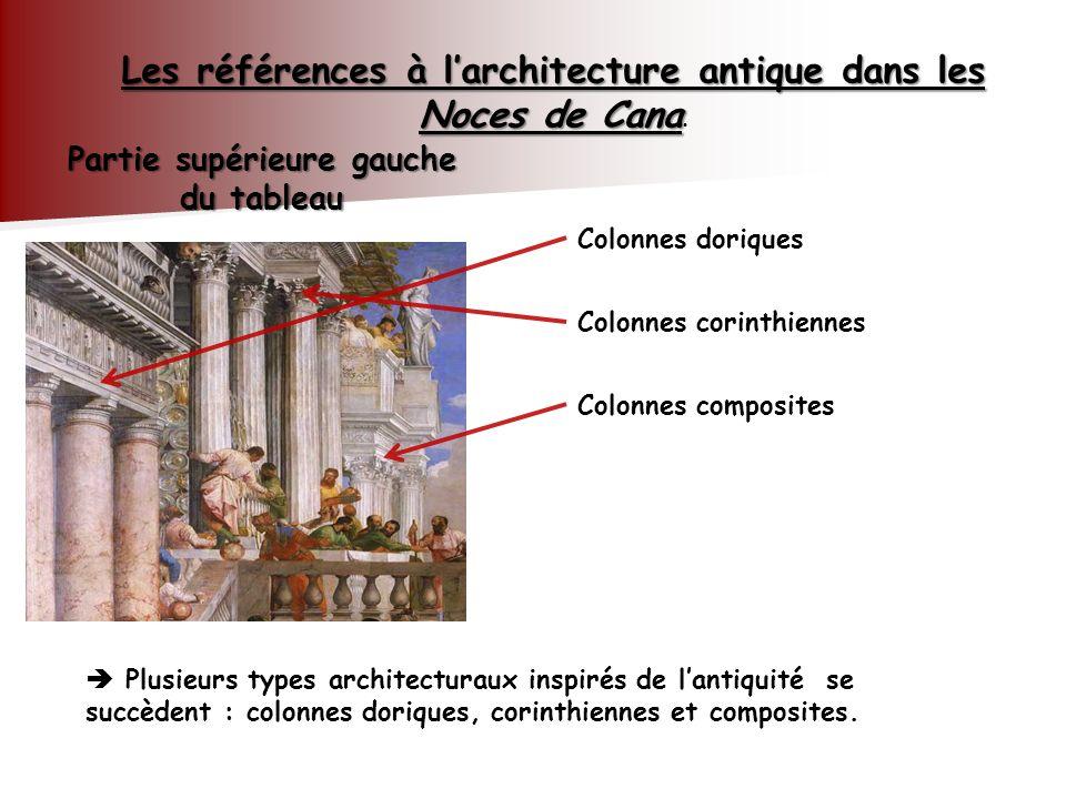Partie supérieure gauche du tableau Les références à larchitecture antique dans les Noces de Cana Les références à larchitecture antique dans les Noce