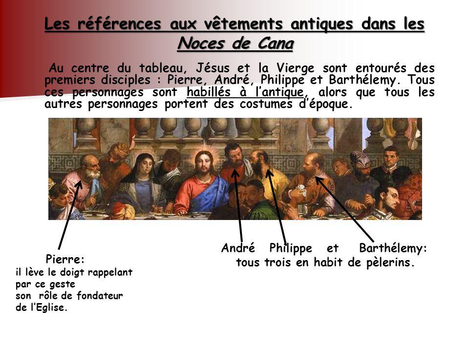 Au centre du tableau, Jésus et la Vierge sont entourés des premiers disciples : Pierre, André, Philippe et Barthélemy. Tous ces personnages sont habil