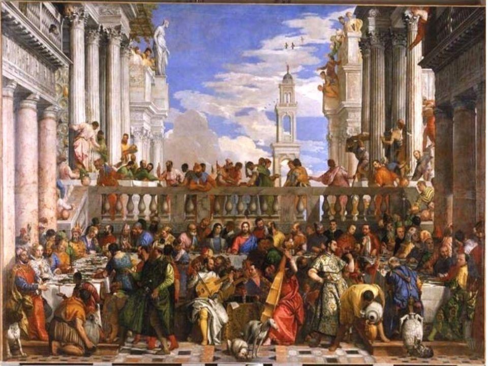 Partie supérieure gauche du tableau Les références à larchitecture antique dans les Noces de Cana Les références à larchitecture antique dans les Noces de Cana.
