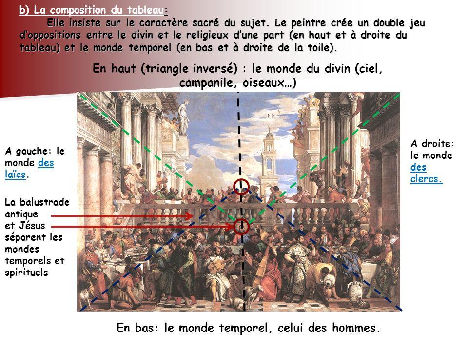Elle insiste sur le caractère sacré du sujet. Le peintre crée un double jeu doppositions entre le divin et le religieux dune part (en haut et à droite