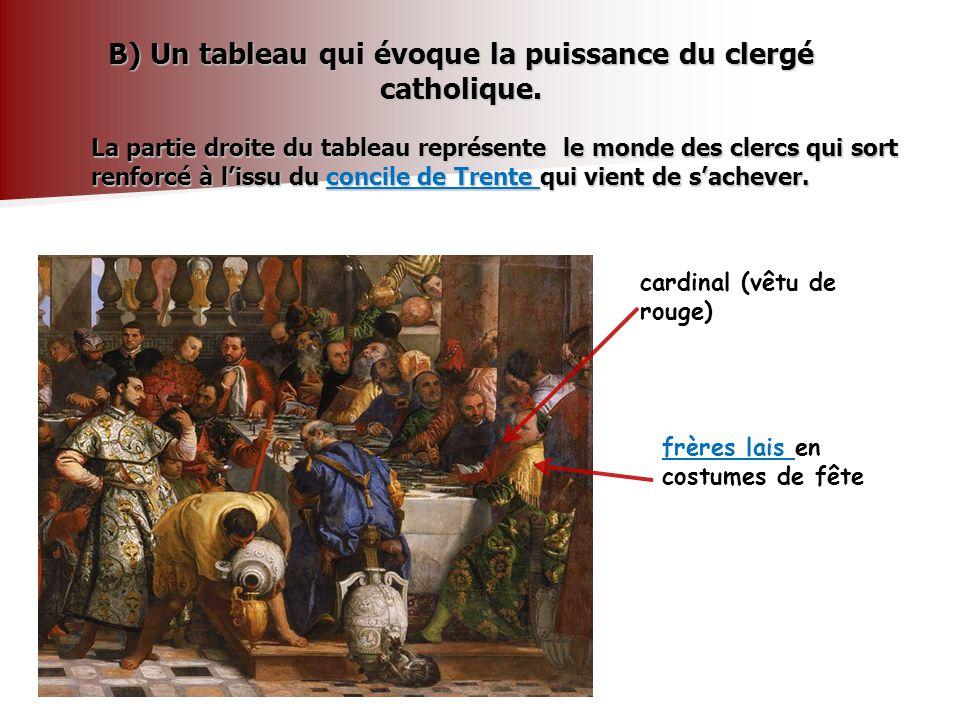 . La partie gauche du tableau représente le monde temporel Le couple dépoux Un intendant aux vêtements orientaux Un serviteur de couleur qui tend une coupe aux mariés Un verre vénitien qui préfigure nos coupes de champagne