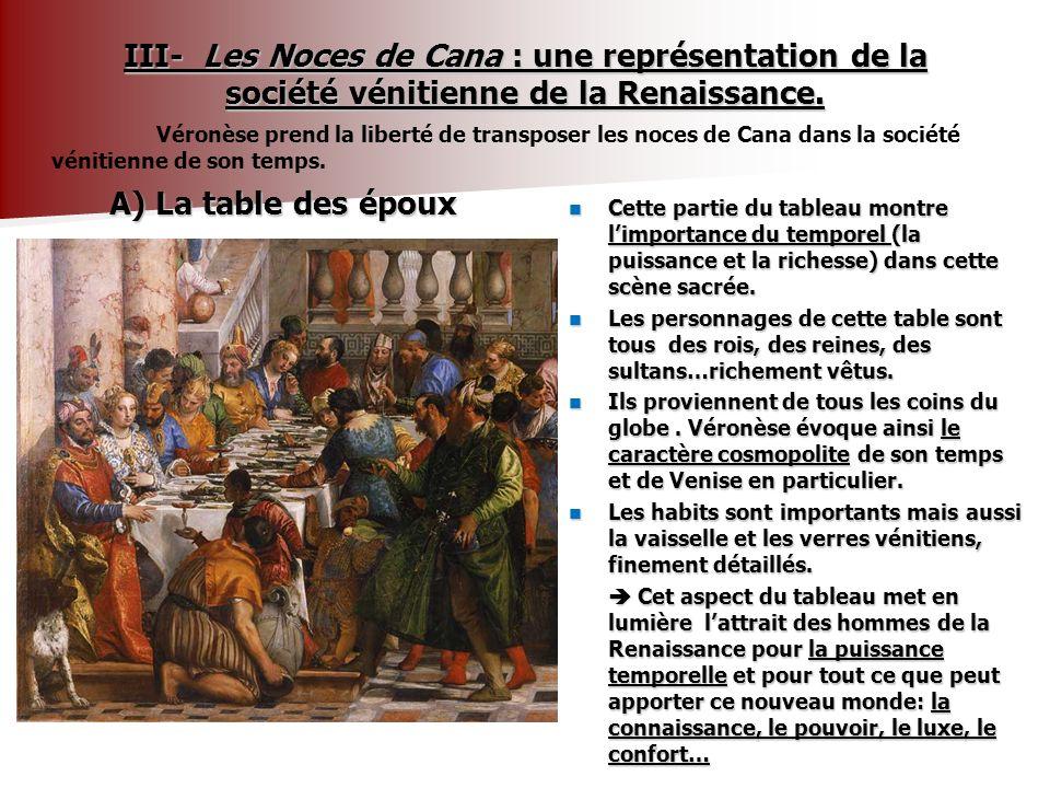 B) Une évocation du milieu artistique vénitien - Ce détail des Noces de Cana évoque la naissance dun groupe social: celui les artistes.
