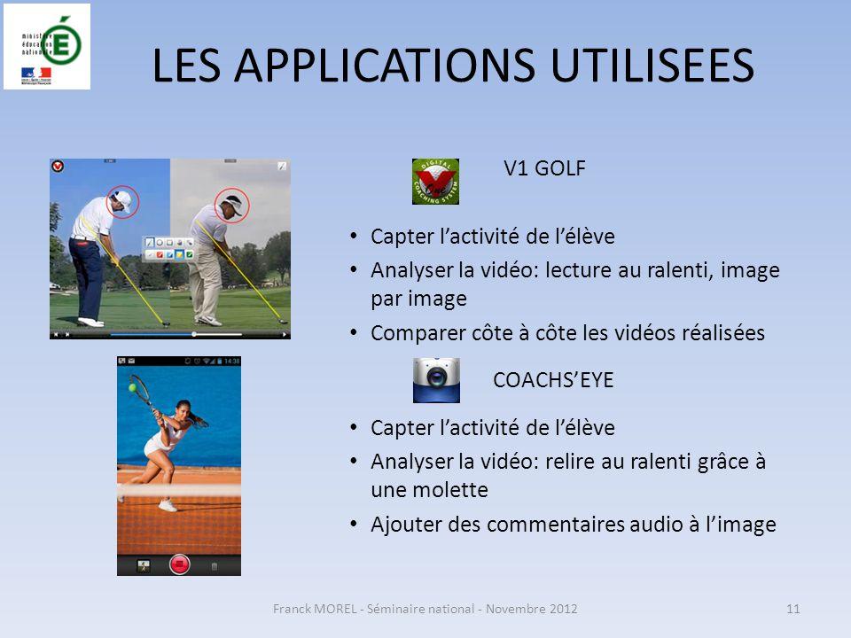 Franck MOREL - Séminaire national - Novembre 201211 LES APPLICATIONS UTILISEES V1 GOLF Capter lactivité de lélève Analyser la vidéo: lecture au ralent